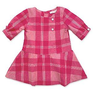 Vestido Infantil Xadrez Pink