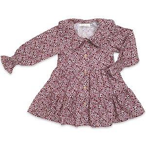 Vestido Infantil Tricoline Floral Vinho