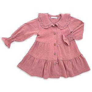Vestido Infanti Rosê - Viscose e Linho