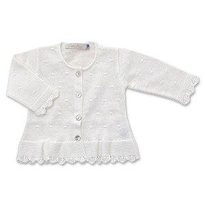 Cardigan Infantil em Tricô Flocos Branco