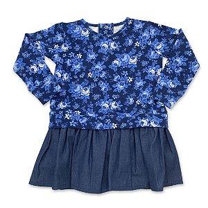 Vestido Molecotton Flowers - Jeans
