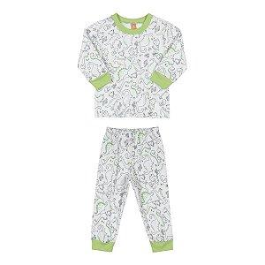 Pijama Infantil Masculino Estampa Dino - Suedine - Tam 1 a 6