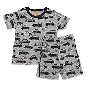 Pijama Infantil Masculino Estampa Carros - Modelo Ciclista - Tam 1 a 6