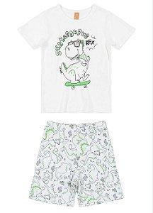 Pijama Infantil Masculino Manga Curta - Estampa Dino - tam 1 a 8