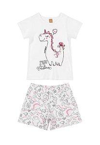 Pijama Infantil Feminino Manga Curta - Estampa Dino - tam 1 a 8