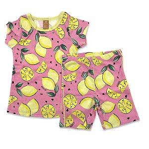 Pijama Infantil Feminino Manga Curta Estampa Limões - Ciclista  - Tam 1 a 8