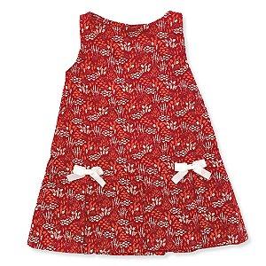 Vestido Infantil 2 Laços - Estampa Floral Vermelha