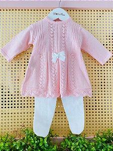 Vestido Saída de Maternidade Leque com Cristais Swarovski - Rosa