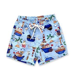 Short Nylon Infantil - Moda Praia - Estampa Oceano