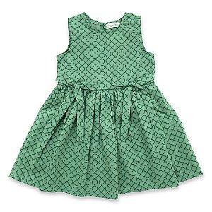Vestido Estampado Laços Verde - Tam M a 8
