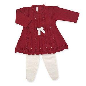 Vestido Saída de Maternidade Leque com Cristais Swarovski - Vermelho