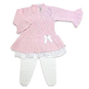 Vestido Barra Renda Estrelas - Rosa