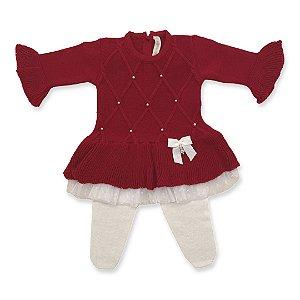 Vestido Maternidade Barra Renda Estrelas Vermelho