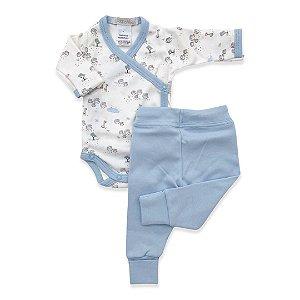 Conjunto Body e Calça Azul Claro - Algodão Egípcio Estampado - Prematuro