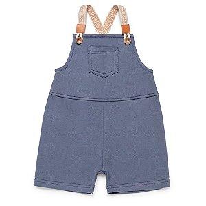 Jardineira Curta Moletom Azul Jeans  - Dame Dos - Tam P ao 2