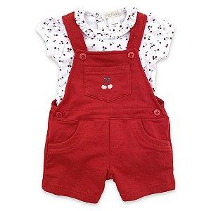 Jardineira Infantil Feminina Vermelha com Body Cerejinhas - Tam P a GG