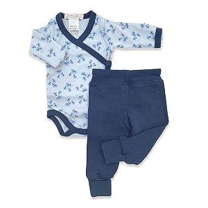 Conjunto Body e Calça Onça Azul Marinho - Algodão Egípcio - Prematuro