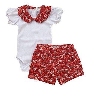 Conjunto Body e Shorts Floral Vermelho - Tam P a G