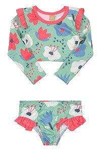 Biquini Infantil Modelo Cropped Estampa Floral com Proteção UV