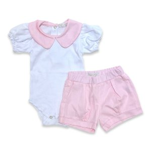 Conjunto Body e Shorts Baby - Detalhe Gola Rosa