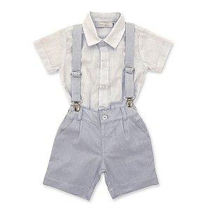 Conjunto para Batizado - Bermuda Azul, Body Camisa e Suspensórios