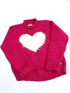 Malha Infantil Coração Peludo - Tamanho 4