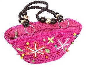 Bolsa de Palha Infantil com Miçangas Pink