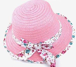 Chapéu Infantil Palha com Laço Florido