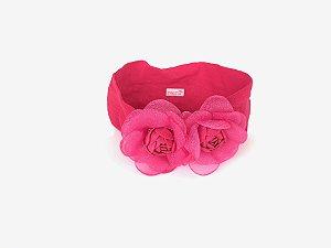 Faixa Meia de Seda Flor Grande Pink Roana