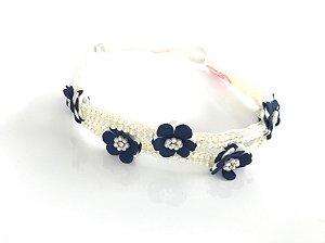 Headband dupla de Pérolas e Flores Azuis