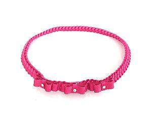 Trança com 3 Mini Laços Pink