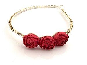 Tiara Strass com Flores Vermelhas Roana