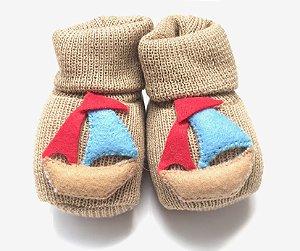 Sapatinho para Bebê em Tricô Estampa Barco