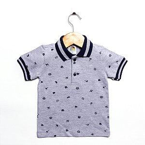 Camisa Polo Infantil Manga Curta Cinza - Tamanho 3