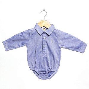 Body Camisa Manga Longa Azul