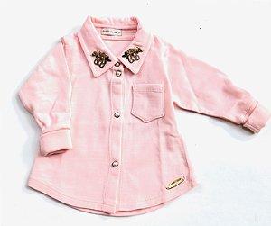 Camisa Lisa Gola Urso Rosa Nuvem  - Tamanho P ao 2
