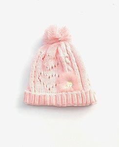 Gorro Infantil Coração Rosa Nuvem
