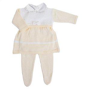 Conjunto Saída de Maternidade Feminina Barcelona - Vestido, Meia e Manta Amarela - RN