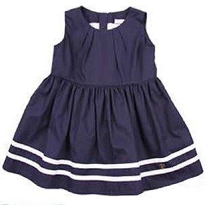 Vestido Baby Girl Náutico com Pregas - Marinho - Tam M