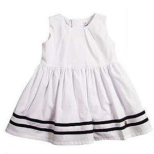 Vestido Baby Girl Náutico com Pregas - Branco - Tam M a GG
