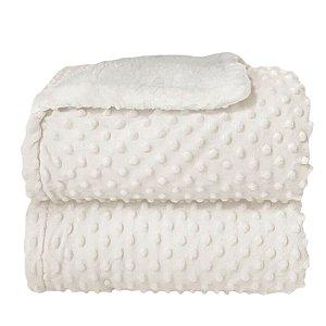 Cobertor Forrado Sherpa com Relevo Dots - Branco