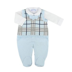 Saída de Maternidade Masculina - Jardineira Xadrez Azul - 100% Algodão - Verive