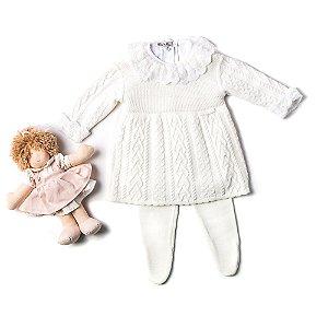 Saída de Maternidade - Vestido e Meia Aran Trança - Off White