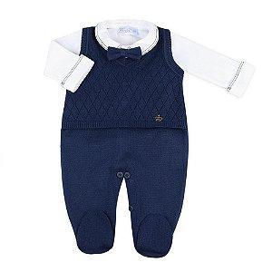 Saída de Maternidade Masculina - Jardineira Inglesa Azul Marinho - 100% Algodão - Verive