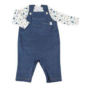 Jardineira Masculina Jeans com Body Estampado - Tam G ao 2