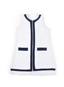 Vestido Infantil Náutico Botões - Sem Manga - Branco - Tam 4 a 6