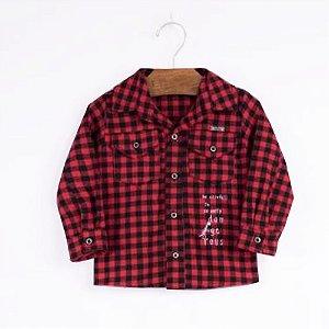 Camisa Infantil Xadrez - Preta e Vermelha - Tam 1 a 3