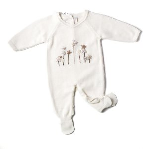 Saída de Maternidade Feminina - Cor Off White - Bordado Jardim