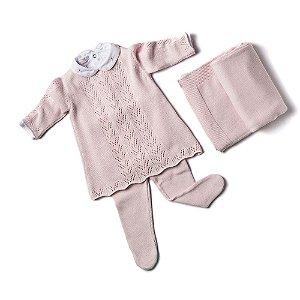 Saída de Maternidade Feminina - Vestido e Meia Furinhos Rosa