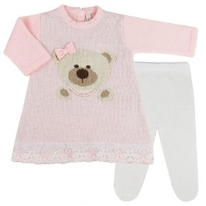 Saída de Maternidade Vestido Ursa Rosa